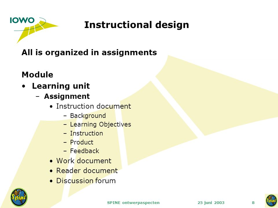 25 juni 2003SPINE ontwerpaspecten8 Instructional design All is organized in assignments Module Learning unit –Assignment Instruction document –Backgro