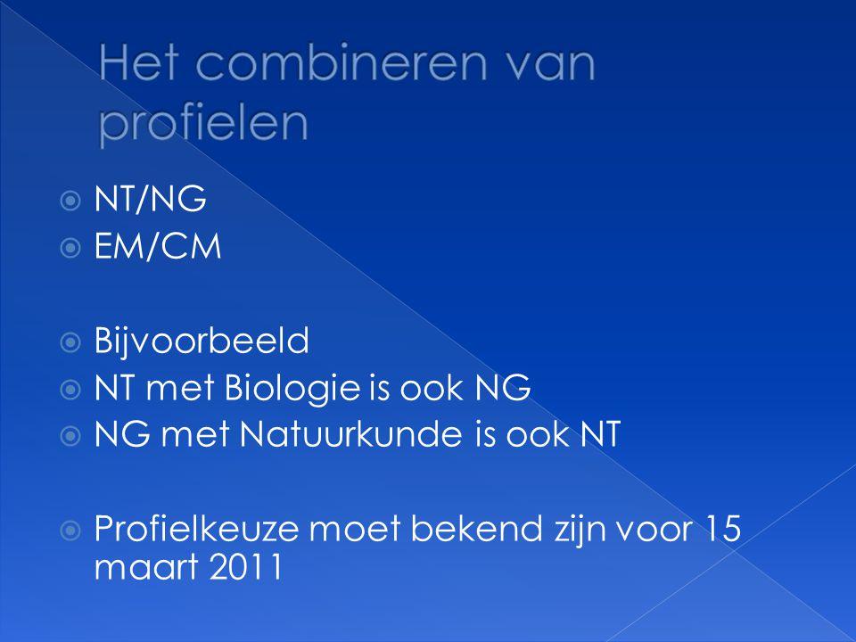  NT/NG  EM/CM  Bijvoorbeeld  NT met Biologie is ook NG  NG met Natuurkunde is ook NT  Profielkeuze moet bekend zijn voor 15 maart 2011