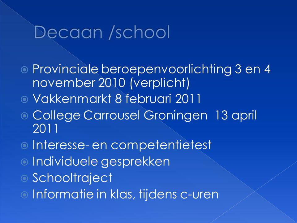  Provinciale beroepenvoorlichting 3 en 4 november 2010 (verplicht)  Vakkenmarkt 8 februari 2011  College Carrousel Groningen 13 april 2011  Intere