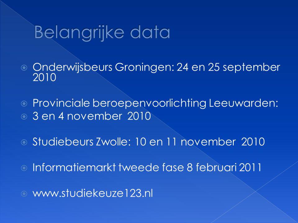  Onderwijsbeurs Groningen: 24 en 25 september 2010  Provinciale beroepenvoorlichting Leeuwarden:  3 en 4 november 2010  Studiebeurs Zwolle: 10 en