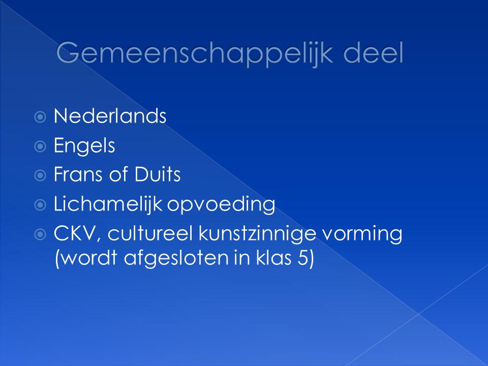  Nederlands  Engels  Frans of Duits  Lichamelijk opvoeding  CKV, cultureel kunstzinnige vorming (wordt afgesloten in klas 5)