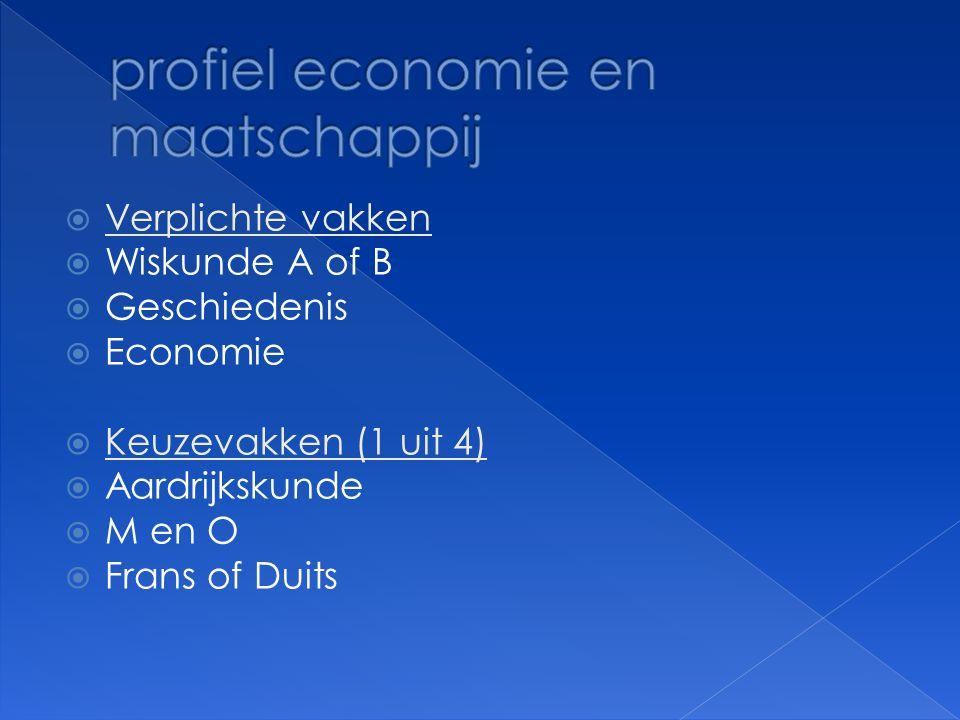  Verplichte vakken  Wiskunde A of B  Geschiedenis  Economie  Keuzevakken (1 uit 4)  Aardrijkskunde  M en O  Frans of Duits