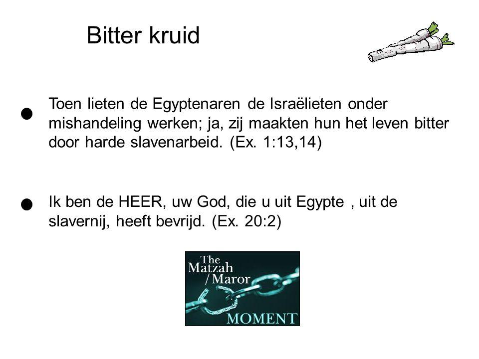Bitter kruid Toen lieten de Egyptenaren de Israëlieten onder mishandeling werken; ja, zij maakten hun het leven bitter door harde slavenarbeid.