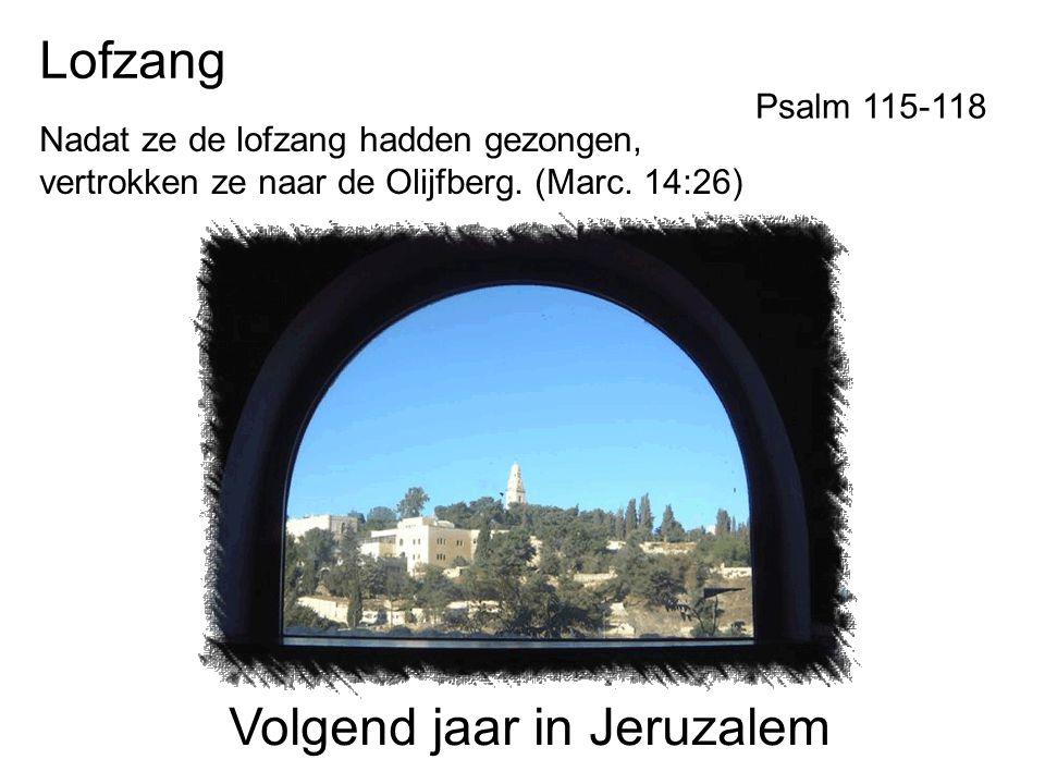 Lofzang Nadat ze de lofzang hadden gezongen, vertrokken ze naar de Olijfberg. (Marc. 14:26) Volgend jaar in Jeruzalem Psalm 115-118