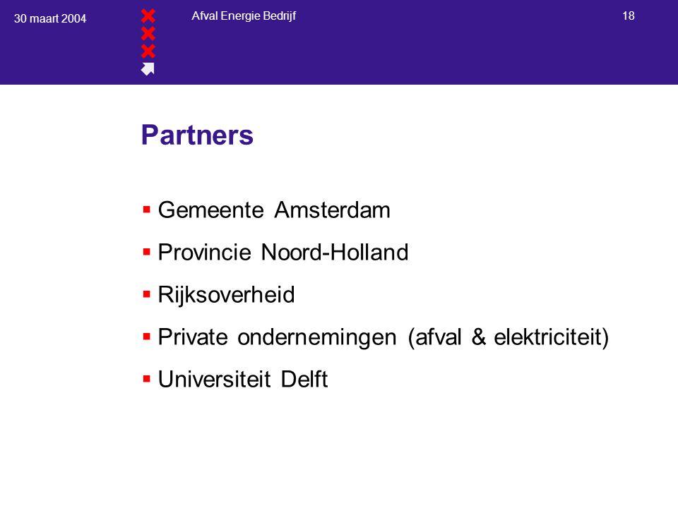 30 maart 2004 Afval Energie Bedrijf 18 Partners  Gemeente Amsterdam  Provincie Noord-Holland  Rijksoverheid  Private ondernemingen (afval & elektr