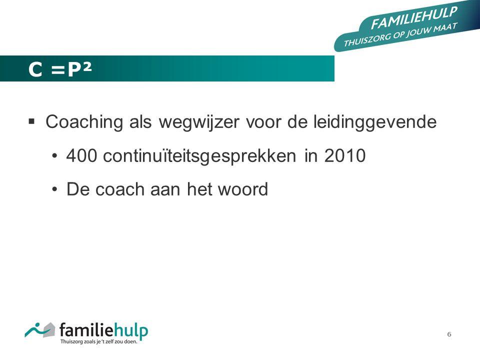 6 C =P²  Coaching als wegwijzer voor de leidinggevende 400 continuïteitsgesprekken in 2010 De coach aan het woord