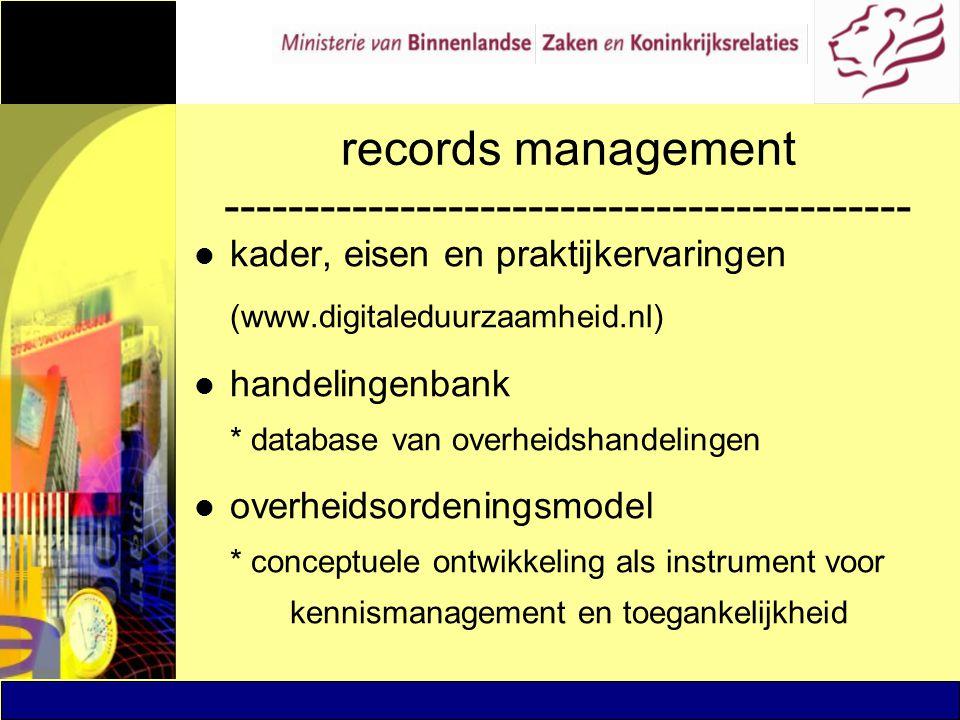 records management ------------------------------------------- l kader, eisen en praktijkervaringen (www.digitaleduurzaamheid.nl) l handelingenbank *