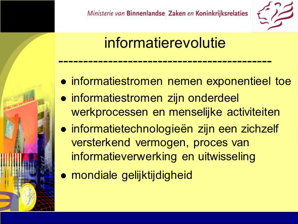 informatierevolutie ------------------------------------------- l informatiestromen nemen exponentieel toe l informatiestromen zijn onderdeel werkproc