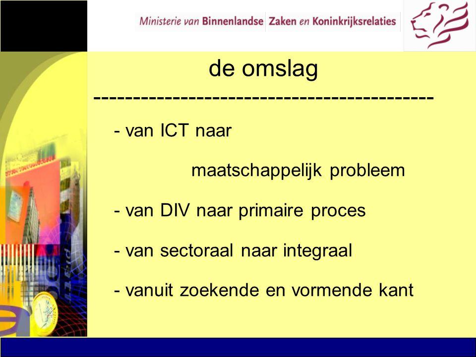 de omslag ------------------------------------------- - van ICT naar maatschappelijk probleem - van DIV naar primaire proces - van sectoraal naar inte