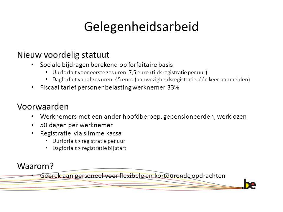 Gelegenheidsarbeid Nieuw voordelig statuut Sociale bijdragen berekend op forfaitaire basis Uurforfait voor eerste zes uren: 7,5 euro (tijdsregistratie