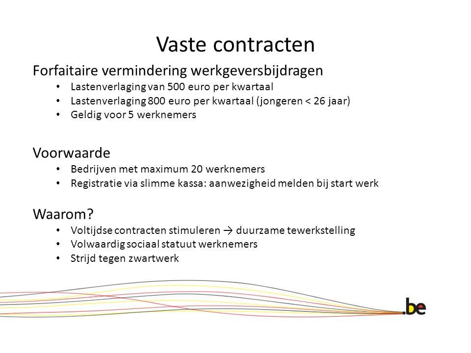 Vaste contracten Forfaitaire vermindering werkgeversbijdragen Lastenverlaging van 500 euro per kwartaal Lastenverlaging 800 euro per kwartaal (jongere