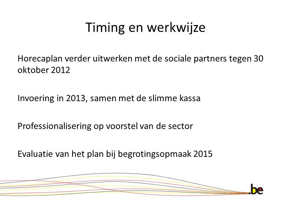 Timing en werkwijze Horecaplan verder uitwerken met de sociale partners tegen 30 oktober 2012 Invoering in 2013, samen met de slimme kassa Professiona