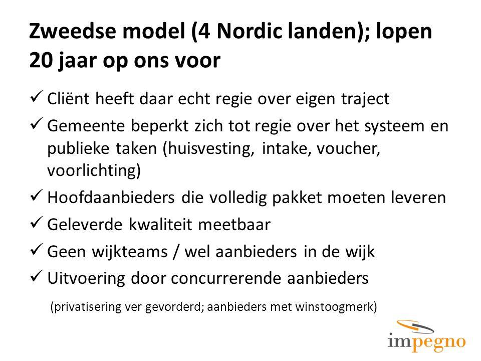 Zweedse model (4 Nordic landen); lopen 20 jaar op ons voor Cliënt heeft daar echt regie over eigen traject Gemeente beperkt zich tot regie over het sy