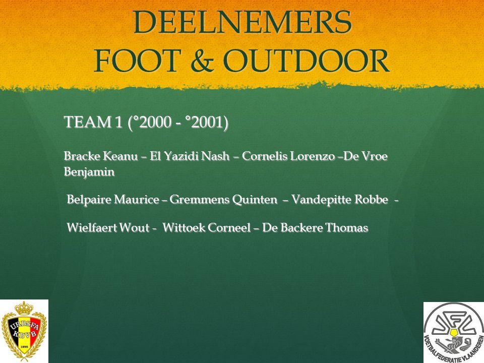 DEELNEMERS FOOT & OUTDOOR 32 spelers (°2000 - °2003) Selectieteam internationaal toernooi Duitsland 2013 spelers °2002 (en jonger) Regio Stuttgart 31