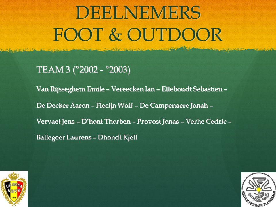 DEELNEMERS FOOT & OUTDOOR TEAM 2 (°2001 & °2002) Beuselinck Axel – MatthijsArthur – Petereyns Yari – Vancoetsem Arne – Carette Vince – Haemelinck Jord