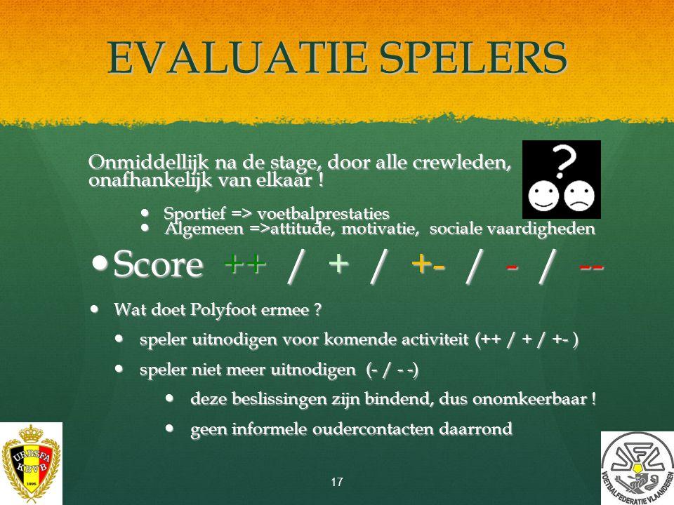 ONLINE EVALUEREN EVALUEER ALS SPELER & OUDER DE STAGE ONLINE EN WIN PERIODIEK… EVALUEER ALS SPELER & OUDER DE STAGE ONLINE EN WIN PERIODIEK… EEN POLYFOOT-TRAININGSPAK EEN POLYFOOT-TRAININGSPAK www.polyfoot.be > contact > evaluatieformulier 16