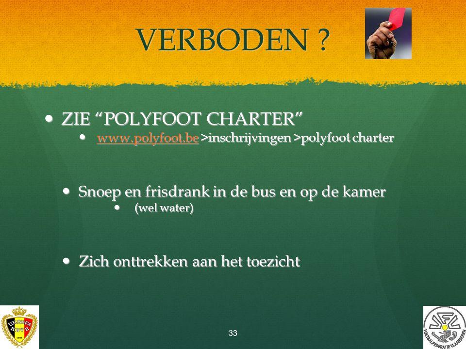 CATERING-KAARTEN Polyfoot cool down are(n)a Hier te koop aan 5 € per kaart (ter plaatse: 6 €) max.