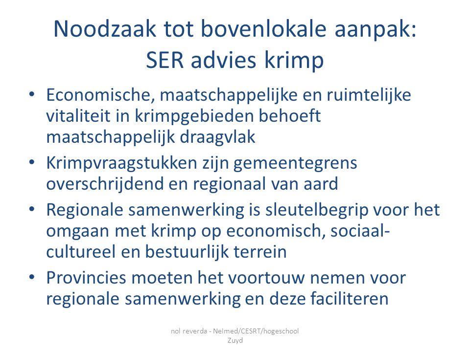 Noodzaak tot bovenlokale aanpak: SER advies krimp Economische, maatschappelijke en ruimtelijke vitaliteit in krimpgebieden behoeft maatschappelijk draagvlak Krimpvraagstukken zijn gemeentegrens overschrijdend en regionaal van aard Regionale samenwerking is sleutelbegrip voor het omgaan met krimp op economisch, sociaal- cultureel en bestuurlijk terrein Provincies moeten het voortouw nemen voor regionale samenwerking en deze faciliteren nol reverda - Neimed/CESRT/hogeschool Zuyd
