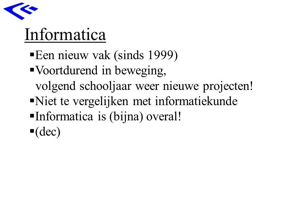 Informatica  Een nieuw vak (sinds 1999)  Voortdurend in beweging, volgend schooljaar weer nieuwe projecten!  Niet te vergelijken met informatiekund