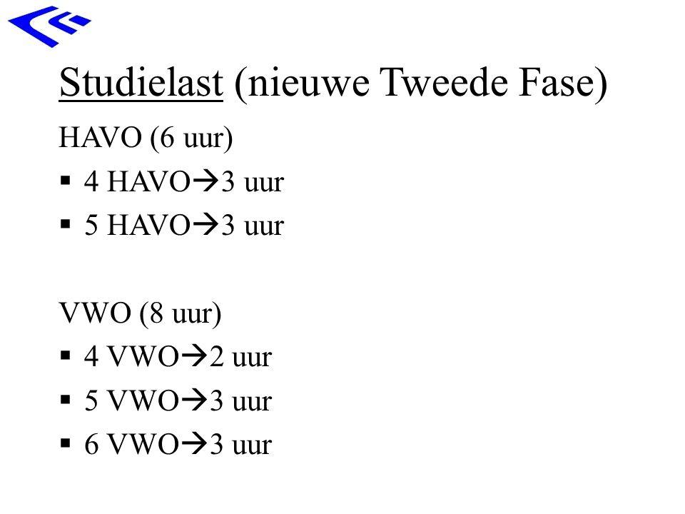 Studielast (nieuwe Tweede Fase) HAVO (6 uur)  4 HAVO  3 uur  5 HAVO  3 uur VWO (8 uur)  4 VWO  2 uur  5 VWO  3 uur  6 VWO  3 uur