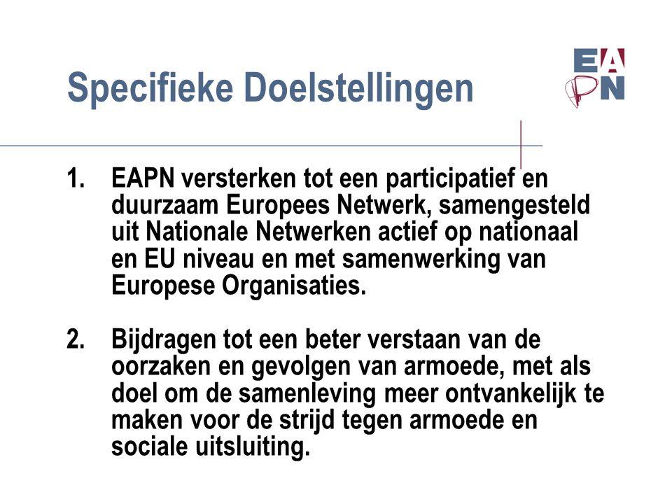 Specifieke Doelstellingen 1.EAPN versterken tot een participatief en duurzaam Europees Netwerk, samengesteld uit Nationale Netwerken actief op nationaal en EU niveau en met samenwerking van Europese Organisaties.