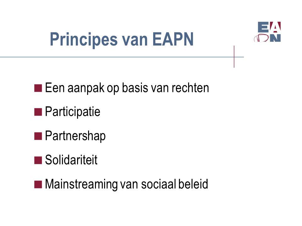 Principes van EAPN  Een aanpak op basis van rechten  Participatie  Partnershap  Solidariteit  Mainstreaming van sociaal beleid