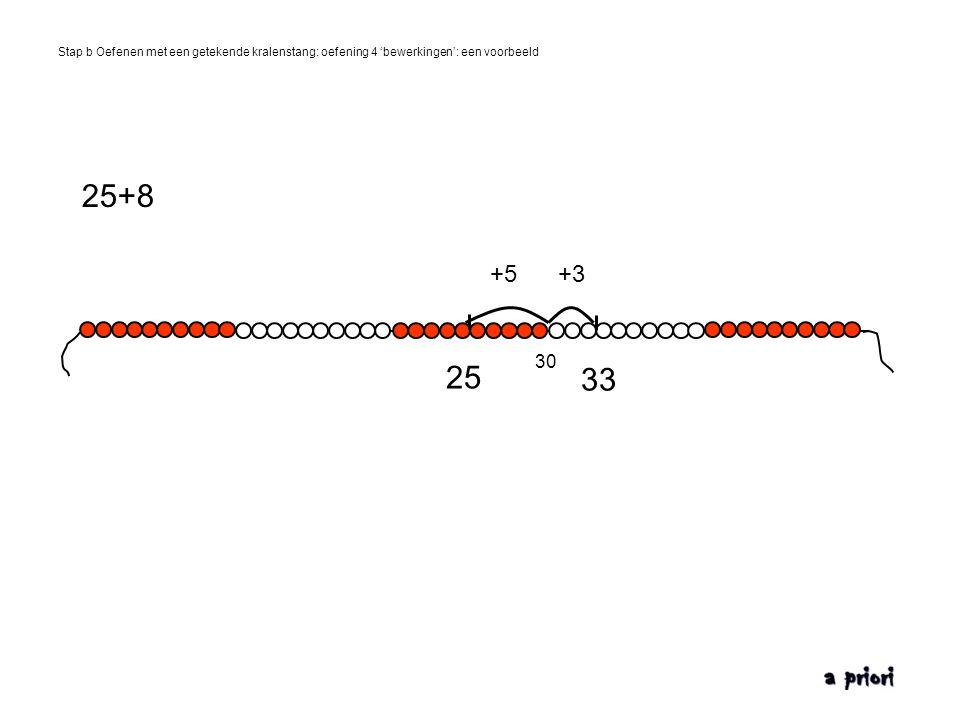 Stap b Oefenen met een getekende kralenstang: oefening 4 'bewerkingen': een voorbeeld 25 33 +5+3 25+8 30