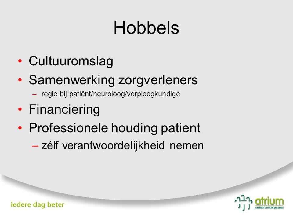 Hobbels Cultuuromslag Samenwerking zorgverleners –regie bij patiënt/neuroloog/verpleegkundige Financiering Professionele houding patient –zélf verantw