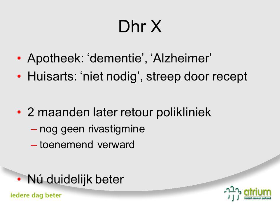 Dhr X Apotheek: 'dementie', 'Alzheimer' Huisarts: 'niet nodig', streep door recept 2 maanden later retour polikliniek –nog geen rivastigmine –toenemen