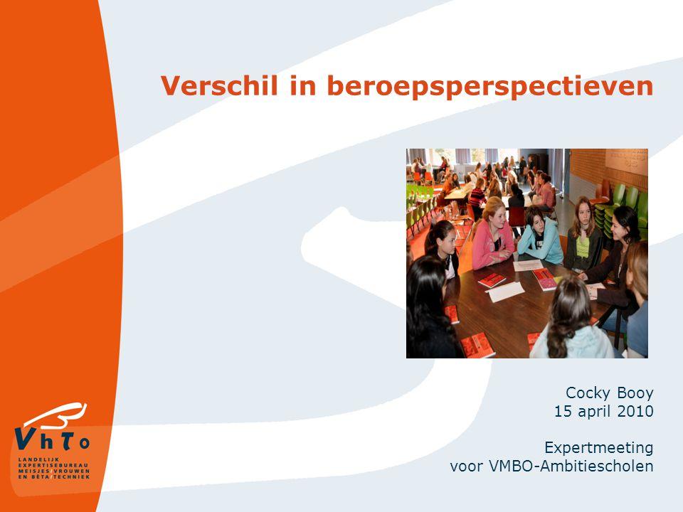 Verschil in beroepsperspectieven Cocky Booy 15 april 2010 Expertmeeting voor VMBO-Ambitiescholen