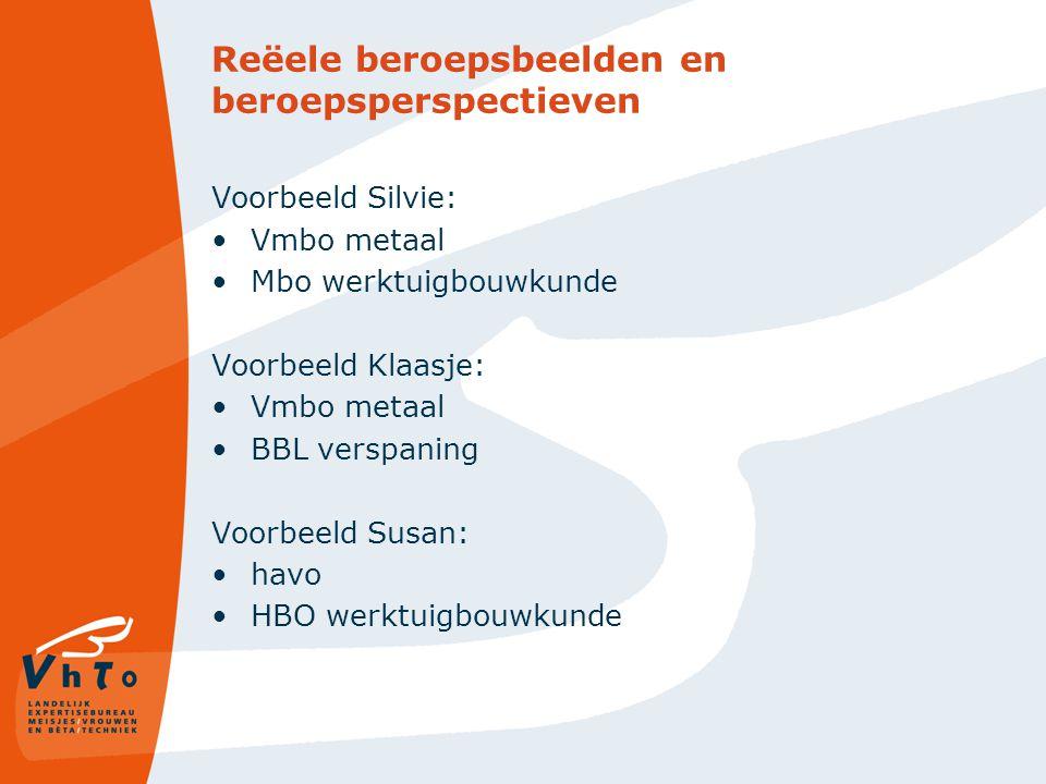 Reëele beroepsbeelden en beroepsperspectieven Voorbeeld Silvie: Vmbo metaal Mbo werktuigbouwkunde Voorbeeld Klaasje: Vmbo metaal BBL verspaning Voorbeeld Susan: havo HBO werktuigbouwkunde