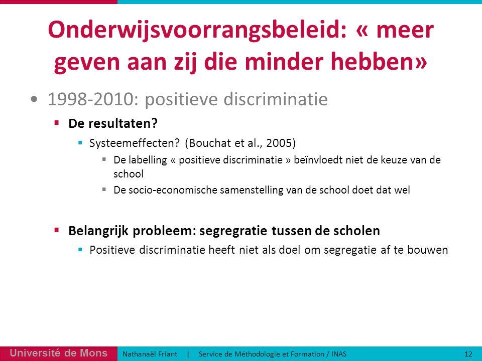Université de Mons Nathanaël Friant | Service de Méthodologie et Formation / INAS 12 Onderwijsvoorrangsbeleid: « meer geven aan zij die minder hebben» 1998-2010: positieve discriminatie  De resultaten.