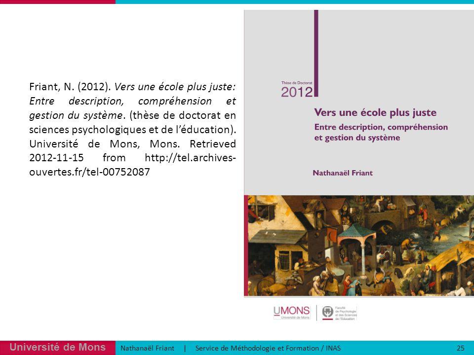 Université de Mons Nathanaël Friant | Service de Méthodologie et Formation / INAS 25 Friant, N.