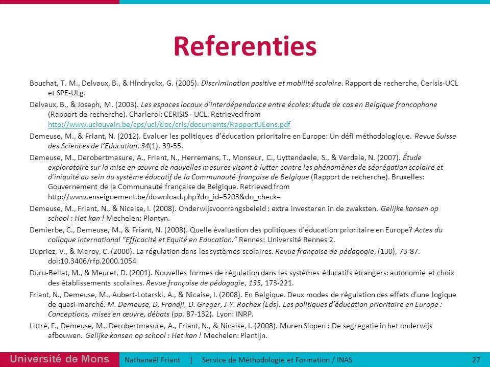 Université de Mons Nathanaël Friant | Service de Méthodologie et Formation / INAS 27 Referenties Bouchat, T.