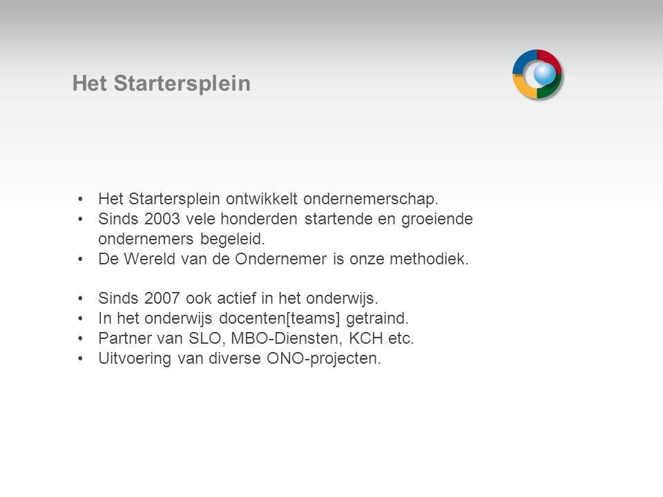 Het Startersplein Het Startersplein ontwikkelt ondernemerschap. Sinds 2003 vele honderden startende en groeiende ondernemers begeleid. De Wereld van d