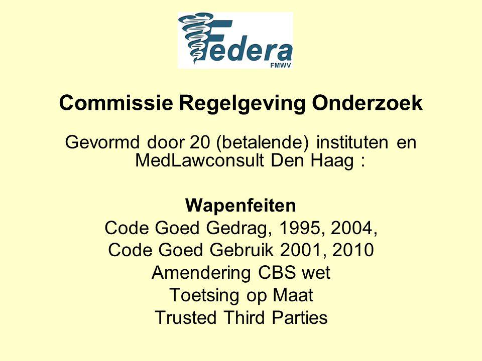 Commissie Regelgeving Onderzoek Gevormd door 20 (betalende) instituten en MedLawconsult Den Haag : Wapenfeiten Code Goed Gedrag, 1995, 2004, Code Goed Gebruik 2001, 2010 Amendering CBS wet Toetsing op Maat Trusted Third Parties