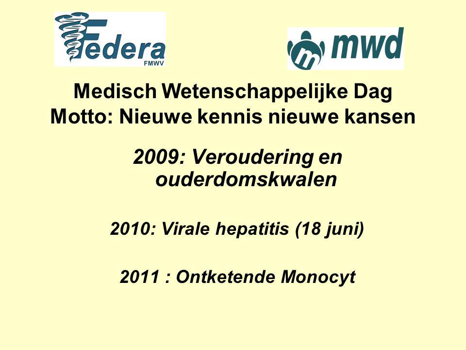 Medisch Wetenschappelijke Dag Motto: Nieuwe kennis nieuwe kansen 2009: Veroudering en ouderdomskwalen 2010: Virale hepatitis (18 juni) 2011 : Ontketende Monocyt