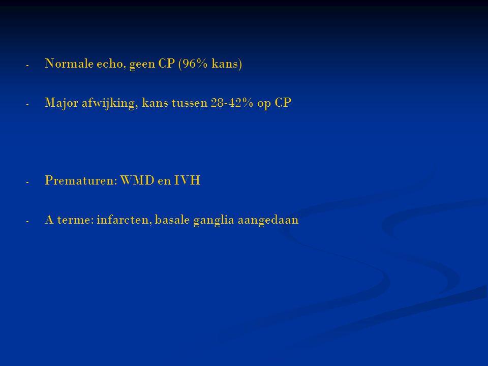 - - Normale echo, geen CP (96% kans) - - Major afwijking, kans tussen 28-42% op CP - - Prematuren: WMD en IVH - - A terme: infarcten, basale ganglia a
