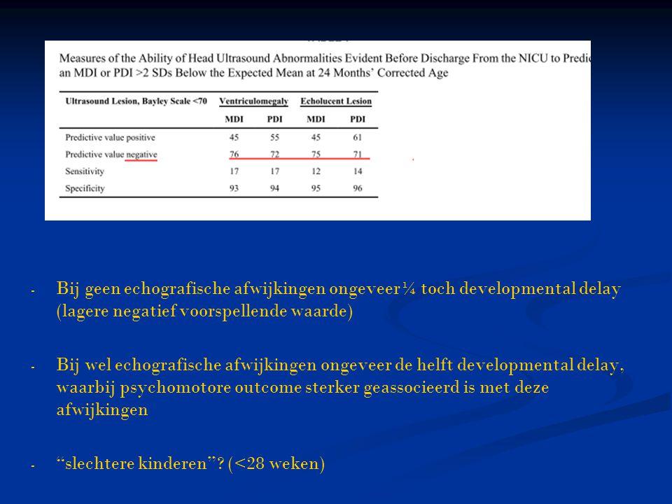 - - Bij geen echografische afwijkingen ongeveer¼ toch developmental delay (lagere negatief voorspellende waarde) - - Bij wel echografische afwijkingen