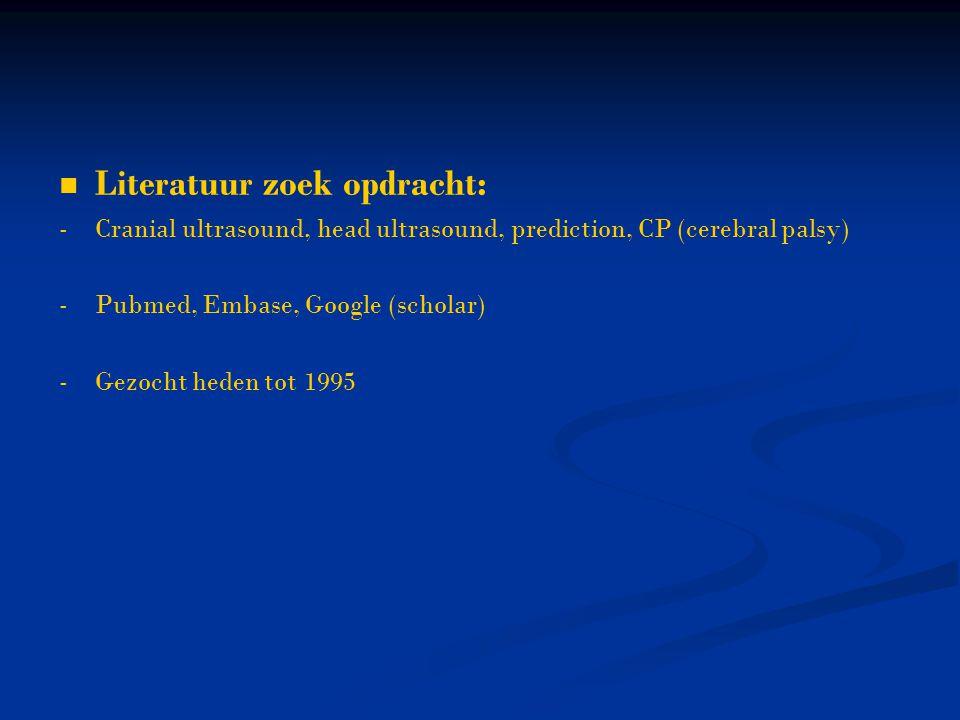Literatuur zoek opdracht: -Cranial ultrasound, head ultrasound, prediction, CP (cerebral palsy) -Pubmed, Embase, Google (scholar) -Gezocht heden tot 1