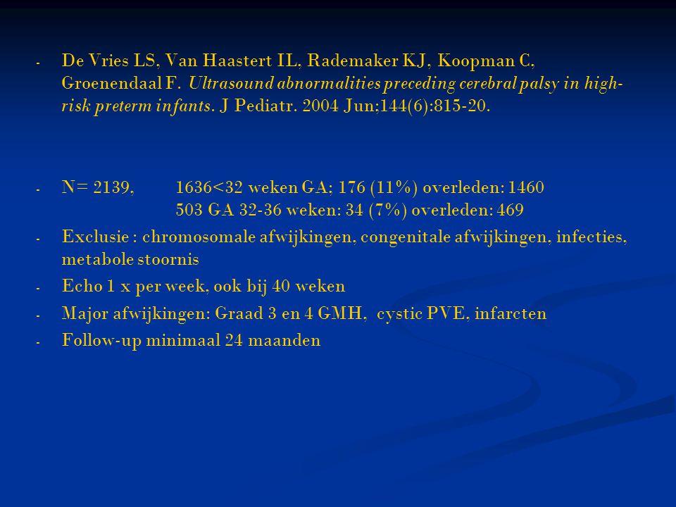 - - De Vries LS, Van Haastert IL, Rademaker KJ, Koopman C, Groenendaal F. Ultrasound abnormalities preceding cerebral palsy in high- risk preterm infa