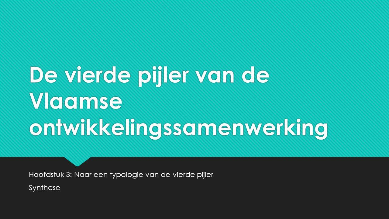 De vierde pijler van de Vlaamse ontwikkelingssamenwerking Hoofdstuk 3: Naar een typologie van de vierde pijler Synthese Hoofdstuk 3: Naar een typologie van de vierde pijler Synthese