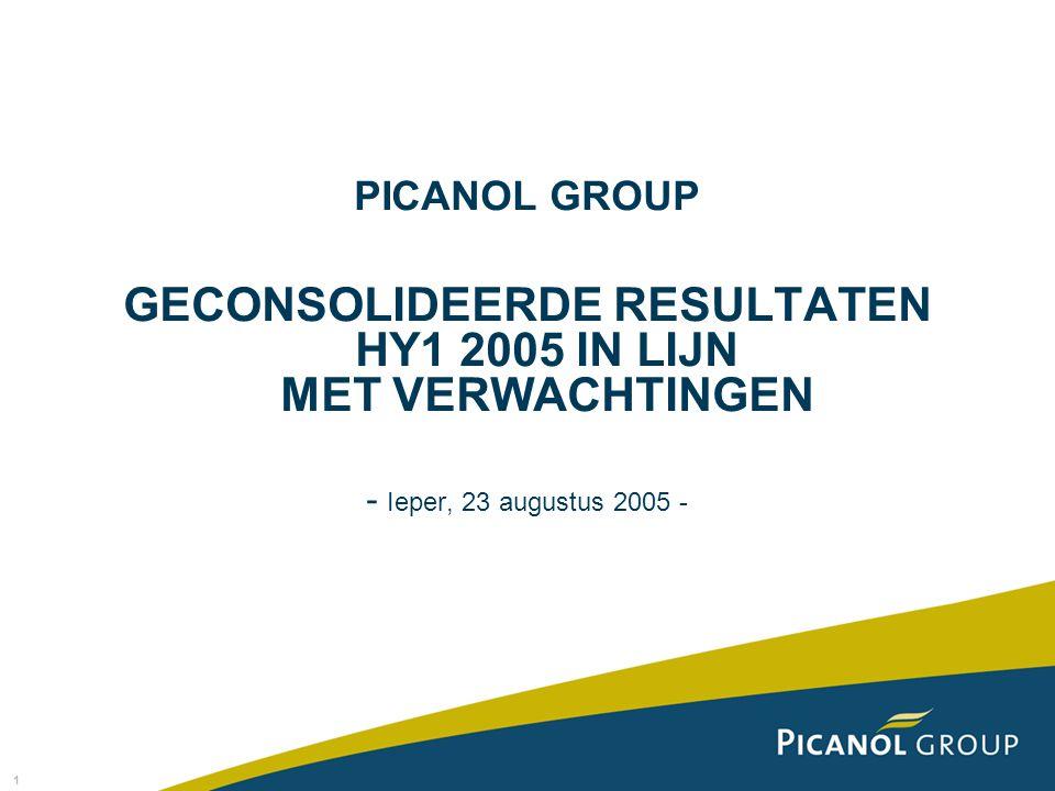 1 PICANOL GROUP GECONSOLIDEERDE RESULTATEN HY1 2005 IN LIJN MET VERWACHTINGEN - Ieper, 23 augustus 2005 -
