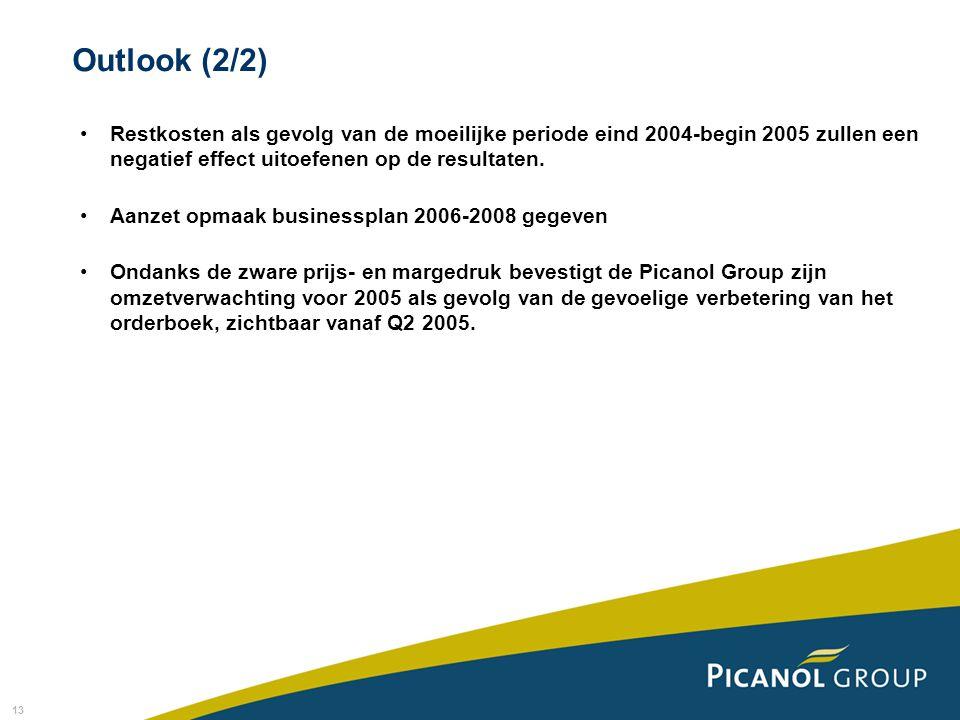 13 Restkosten als gevolg van de moeilijke periode eind 2004-begin 2005 zullen een negatief effect uitoefenen op de resultaten.
