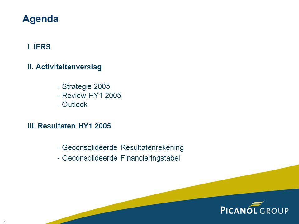 2 I. IFRS II. Activiteitenverslag - Strategie 2005 - Review HY1 2005 - Outlook III.