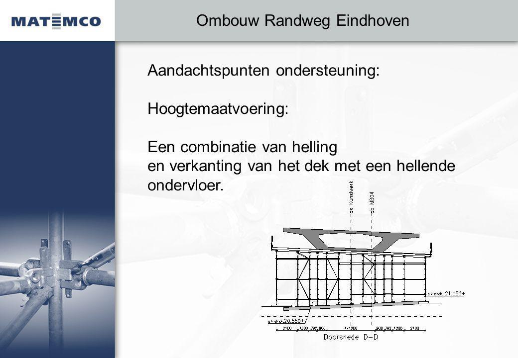 Ombouw Randweg Eindhoven Aandachtspunten ondersteuning: Hoogtemaatvoering: Een combinatie van helling en verkanting van het dek met een hellende ondervloer.