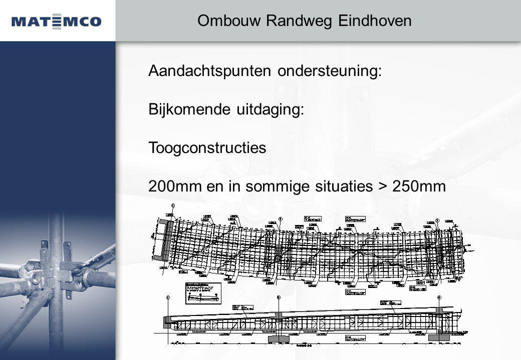 Ombouw Randweg Eindhoven Aandachtspunten ondersteuning: Bijkomende uitdaging: Toogconstructies 200mm en in sommige situaties > 250mm