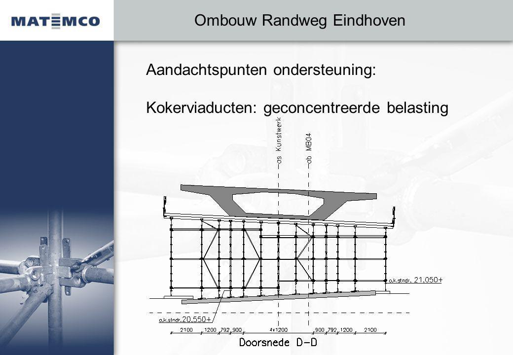 Ombouw Randweg Eindhoven Aandachtspunten ondersteuning: Kokerviaducten: geconcentreerde belasting
