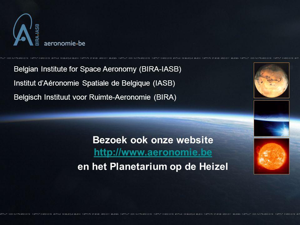 BELGISCH INSTITUUT VOOR RUIMTE-AERONOMIE INSTITUT D'AERONOMIE SPATIALE DE BELGIQUE BELGIAN INSTITUTE OF SPACE AERONOMY BELGISCH INSTITUUT VOOR RUIMTE-