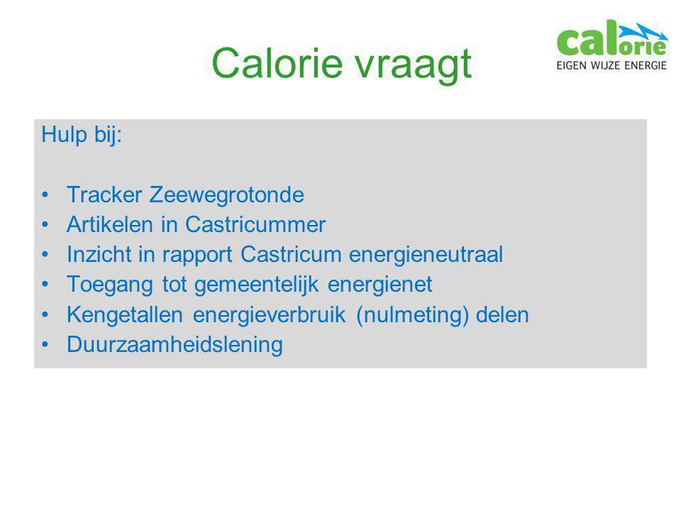 Calorie vraagt Hulp bij: Tracker Zeewegrotonde Artikelen in Castricummer Inzicht in rapport Castricum energieneutraal Toegang tot gemeentelijk energienet Kengetallen energieverbruik (nulmeting) delen Duurzaamheidslening
